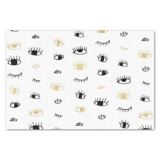 Funny fashion gold and black cute eyes pattern tissue paper