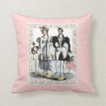 Funny Fashionable Family Vintage French Fashions Throw Pillows