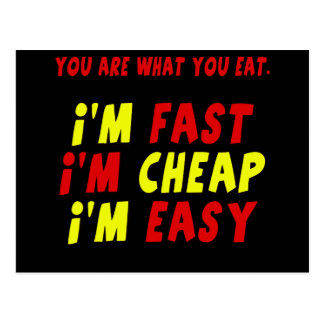 Funny Fast Cheap Easy T-shirts Gifts Postcard