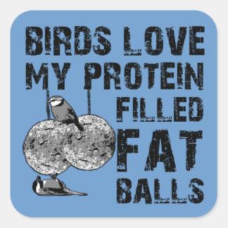 Funny fat balls square sticker