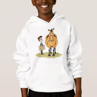 Funny Fat Cartoon Horse Boy Will Work for Hay Hoodie