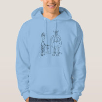 Funny Fat Cartoon Horse Man Will Work For Hay Hoodie