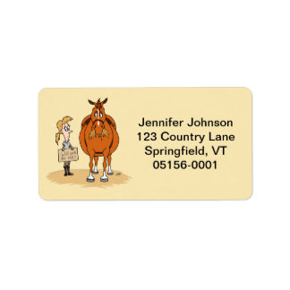 Funny Fat Cartoon Horse Woman Will Work For Hay Label