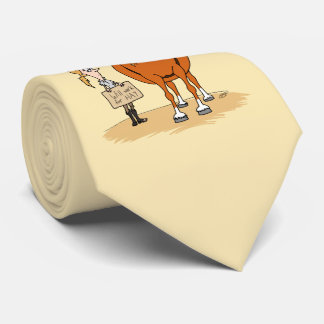 Funny Fat Cartoon Horse Woman Will Work For Hay Neck Tie