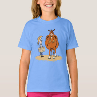 Funny Fat Cartoon Horse Woman Will Work For Hay T-Shirt