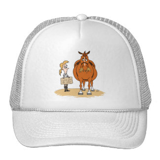 Funny Fat Cartoon Horse Woman Will Work For Hay Trucker Hat