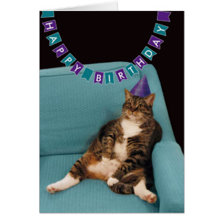 Funny Fat Cat in Purple Hat Happy Birthday Card
