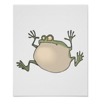 funny fat frog poster