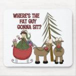 Funny Fat Guy Christmas Mousepad
