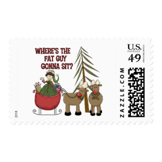Funny Fat Guy Christmas Postage Stamp