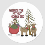 Funny Fat Guy Christmas Stickers