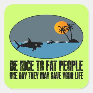 Funny fat joke square sticker