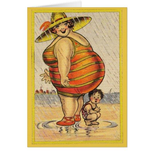 Funny Fat Lady on Beach Card