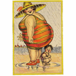 Funny Fat Lady on Beach Cutout