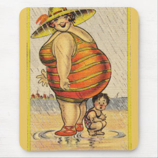 Funny Fat Lady on Beach Mouse Pad