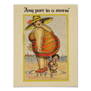 Funny Fat Lady On Beach Poster at Zazzle