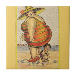 Funny Fat Lady on Beach Tile