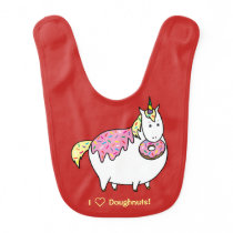 Funny Fat Unicorn Eating Sprinkle Doughnut Baby Bib