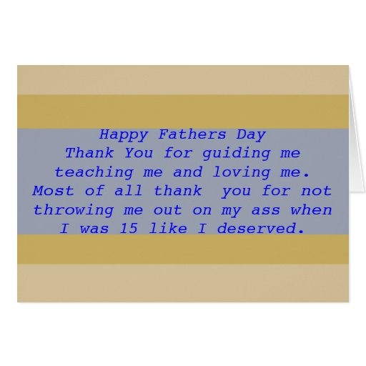 Funny Fathers Day Blue and Brown Greeting Card
