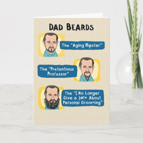 Funny Fathers Day Card Dad Beards Card