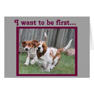 """Funny """"Father's Day"""" Card w/Cute Running Bassets"""