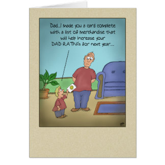 Funny Fathers Day Cards: Dad Rating Cartoon