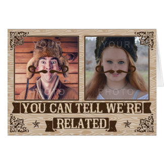 Funny Fathers Day Mustache Custom Family Photos Card