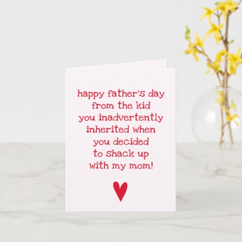 Funny Fathers Day Quote for Bonus Dad Card