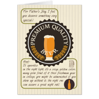 Funny Father's Day, Retro Beer Label, Necktie Card