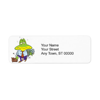 funny fatigued tired working man frog label