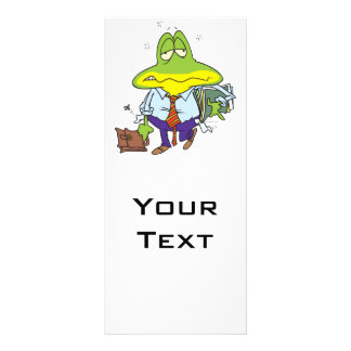 funny fatigued tired working man frog rack card