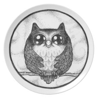 Funny Feathers Owl - Pen art / illustration Plate