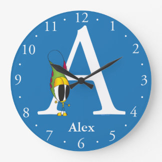 Funny Fellows ABC: Letter A   Add Your Name Large Clock