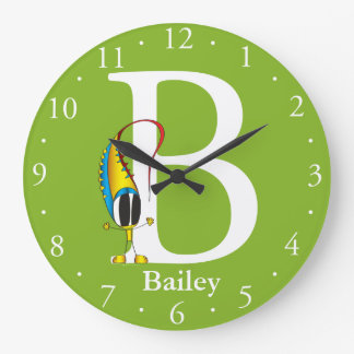 Funny Fellows ABC: Letter B   Add Your Name Large Clock