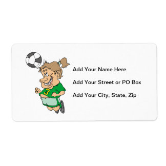 Funny Female Soccer Player Tshirts and Gifts Shipping Label