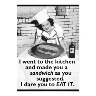 Funny Feminist Make Me a Sandwich Retro Woman Magnetic Card