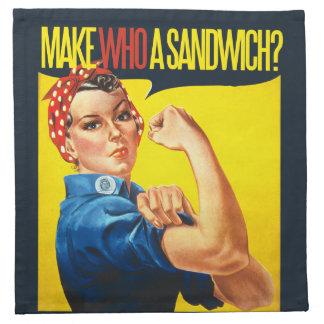 Funny Feminist Rosie Riveter humor Cloth Napkin