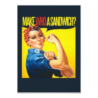 Funny Feminist Rosie Riveter humor 5x7 Paper Invitation Card