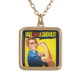 Funny Feminist Rosie Riveter humor Square Pendant Necklace