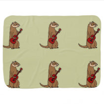 Funny Ferret Playing Red Guitar Baby Blanket