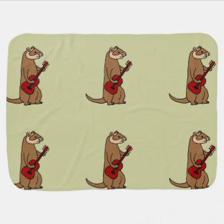 Funny Ferret Playing Red Guitar Stroller Blanket