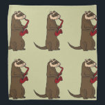 """Funny Ferret Playing Red Saxophone Bandana<br><div class=""""desc"""">Fun brown ferret is playing a red saxophone original art design.  Can also add custom text and change background color when ordering.</div>"""