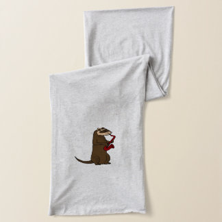 Funny Ferret Playing Red Saxophone Scarf