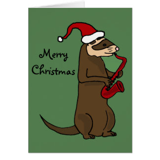 Funny Ferret Playing Saxophone Christmas Art Card