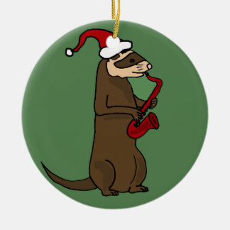 Funny Ferret Playing Saxophone Christmas Art Ceramic Ornament