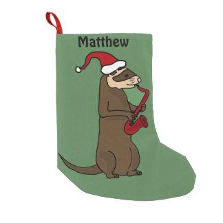 Funny Ferret Playing Saxophone Christmas Stocking Small Christmas Stocking