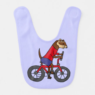 Funny Ferret Riding Red Bicycle Bib