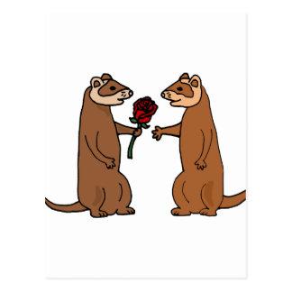 Funny Ferrets in Love Art Postcard