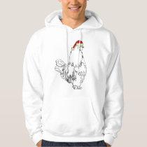 Funny Festive Rooster in Xmas Hat Cockerel Humor Hoodie