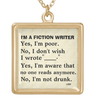 Funny Fiction Writer Answer Sheet Square Pendant Necklace
